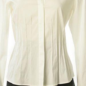 Lafayette 148 White Long Sleeve Blouse Size 4 NWT